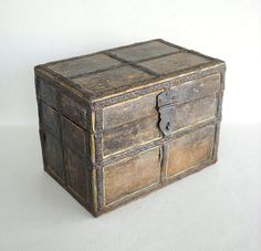 Vintage Hand Crafted Wooden Trunk Type Box with by vintagemarvels