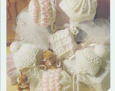 six designs baby bonnets hats vintage crochet pattern premature to six months sizes double knitting wool required to make these delightful hats PD