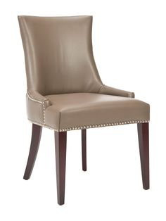 Bring elegant style to your dining room or master suite with this beech wood-framed side chair, showcasing faux leather upholstery and nailhead trim. Leather Dining Room Chairs, Upholstered Dining Chairs, Kitchen Chairs, Leather Chairs, High Back Chairs, Side Chairs, Transitional Chairs, Transitional Style, Camping Furniture