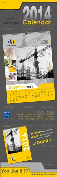 Calendar 2014  #GraphicRiver         Calendar 2014    - 2 PSD files ( Cover – the page ), made in good structure - Printable A3 size, CMYK - High Resolution 300 dpi - 12 Months 2014 including ( as lyers ) in one smart object - Fully and Easily editable - Smart Objects  - Folders sorted perfectly, named to be understandable easily, colored to be fast editable / text, Photos    Images used in preview file are just for display purpose not included in download file.    Font Used :     1…