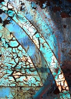 I love how the colours correspond with the rust and how the splits in the wood create a pattern reflecting the different colours. Peeling Paint, Rusty Metal, Art Furniture, Texture Art, Textures Patterns, Color Inspiration, Abstract Art, Colours, Pottery Clay