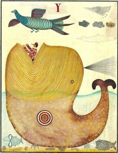 Illustrazioni - Maurizio Olivotto Whale Drawing, Art Base, Fish Art, Children's Book Illustration, Whimsical Art, Conte, Figurative Art, Pet Birds, Illustrations Posters