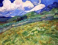 Wheatfields with mountain in background.  Van Gogh