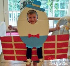 Creative way to make a last minute halloween costume with stuff you probably have around the house: cardboard and construction paper and maybe a little glue and paint.  Humpty Dumpty will get lots of candy for this one.  ||  Kitchen Fun With My 3 Sons: Humpty Dumpty #halloween