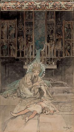 "Illustration - The Lucas Museum of Narrative Art Alphonse Mucha (1860-1939) Episode from ""The Jester, A Hungarian Tale"" c.1887 pencil & watercolour on paper, 17 x 10"