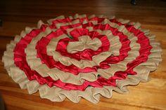 Ruffle Burlap and Silk Christmas Tree Skirt by SPCrafty on Etsy, $55.00