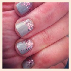 Creamy gray nails with pink sparkle.  Real Girl Runway