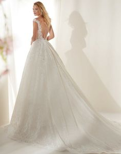 LISA - // A stunning full lace ball gown with a sheer bodice and dramatic full skirt Bridal Gowns, Wedding Gowns, Lace Ball Gowns, Designer Wedding Dresses, Bodice, Romantic, Couture, Skirts, Lisa