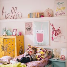 Colorful kids room with Down to the Woods products, via hailsandshine