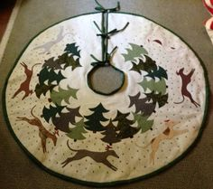 Christmas Tree Skirt with Whippets Greyhounds Italian Greyhounds Made to Order. $195.00, via Etsy.