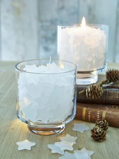 Filled Glass Hurricane Lamp - Heavenly Dream