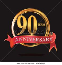 90 years golden anniversary logo with ring and soft red ribbon