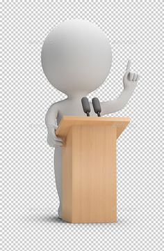 3D Small People - Speaking by AnatolyM 3d small people said it from the podium. 3d image. Transparent high resolution PNG with shadows.