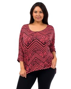 Hot Ginger Coral/Black Geometric 3/4 Sleeves Scoop Neck Top Plus Size 1XL-3XL #HotGinger #KnitTop #Career