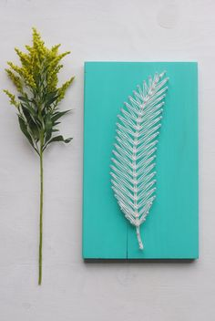 Feather String Art Rustic Wooden Sign by TheDustyDaisyShop on Etsy