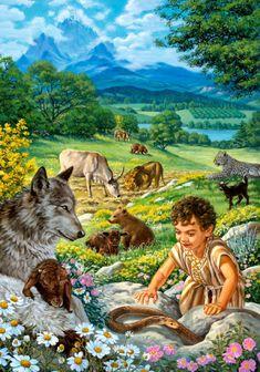 楽園で1人の男の子が野生の動物たちと遊んでいる