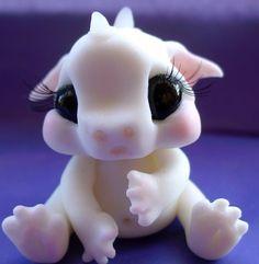 polymer clay baby white dragon