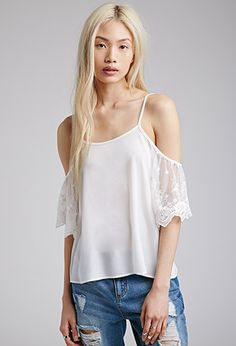 Off-The-Shoulder Lace-Sleeved Top | FOREVER21