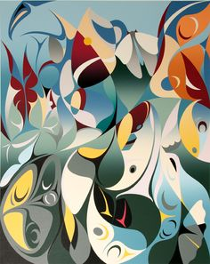 Symphony of Butterflies by Susan Point (Canadian), 2006, serigraph, ink on paper, movement: Coast Salish Art #SusanPoint