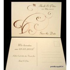 """Save the Date """"Farbflirt braun & creme"""" Save The Date, Creme, Place Cards, Metallic, Dating, Place Card Holders, Get Tan, Cards, Quotes"""