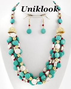 37.99$ Gold Turquoise Coral Ivory Color Stones Statement Necklace Earrings Set