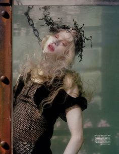 "Far Far from Land"" by Tim Walker   Far from Land for the December issue of W Magazine  Styled by Jacob K– a hauntingly beautiful editorial where Kristen McMenamy portrays a land-locked mermaid.  synesthesiagarden."