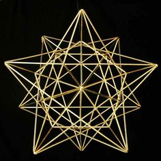 If you extend star points from the Earth Grid in a phi ratio to the pentagonal sides of the internal dodecahedron, you will discover one of our most beautiful and intricate forms - the Stellated Earth Grid.