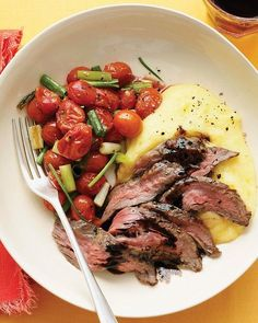 June 2, 2011 Balsamic Skirt Steak with Polenta and Roasted Tomatoes #recipe, #dinner, #food