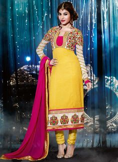 Yellow Patch Border And Resham Work Faux Georgette Churidar Suit, Product Code :6790, shop now http://www.sareesaga.com/glorious-yellow-patch-border-and-resham-work-faux-georgette-churidar-suit-6790  Email :support@sareesaga.com What's App or Call : +91-9825192886