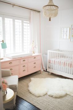 Elegant Pink and White Girls Nursery Bright and Airy Nursery Design - Project Nursery girls nursery, gold chandelier, pink dresser, white fur rug Baby Bedroom, Nursery Room, Girls Bedroom, Baby Girl Rooms, Nursery Curtains Girl, Bedrooms, Room Baby, Girl Nursery Rugs, Mint Baby Rooms