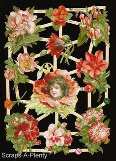 German Embossed Scrap Die Cut -  Beautiful Flowers & Red Flower Girl   EF7102b