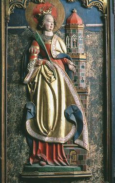 Barbara avbildad på ett altarskåp från Västra Ed i Småland, daterat till 1526 Free Standing Sculpture, Medieval, Effigy, 16th Century, Sculptures, Statue, Santa Barbara, Pictures, Crowns