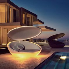 Fancy   Illuminated Ulm Daybed with Parasol