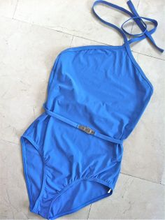 Hermes Lavender Blue One Piece Swimsuit Size 38 via The Queen Bee. Click on the image to see more!