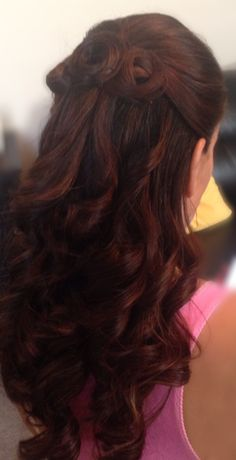 Curly half Up-Do, Beautiful Medium length Half up and Half down for  Weddings and Special Occasions Dunia Ghabour Makeup & Hair  (Based in NY - Available Nationwide)