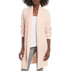 Women's Leith Waffle Knit Cardigan ($85) via Polyvore featuring tops, cardigans, pink smoke, pink top, pink cardigan, chunky cardigan, waffle top and cardigan top