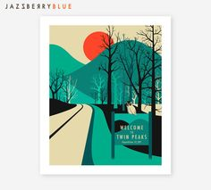 TWIN PEAKS Travel Poster Pop Art for the home by JazzberryBlue