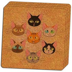 """Custom & Cool {4"""" Inches} Set Pack of 4 Square """"Grip Texture"""" Drink Cup Coaster Made of Cork w/ Adorable Cartoon Cat Faces Clash Design [Colorful Brown, Black, Orange & Blue] mySimple Products"""