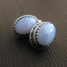 Earrings Blue agate Blue Natural stone Silver Carved frame Russian Free shipping