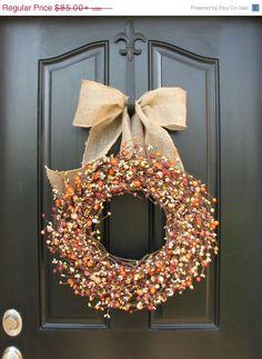 FALL guirlande vente rhubarbe tarte - couronnes - Berry Wreath - baies toute l'année - récolte Decor - porte couronnes - décorations de saison de l'automne