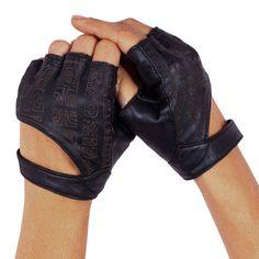 Cuir noir Fingerless Gloves - gants de cuir - gants d'équitation - mitaines