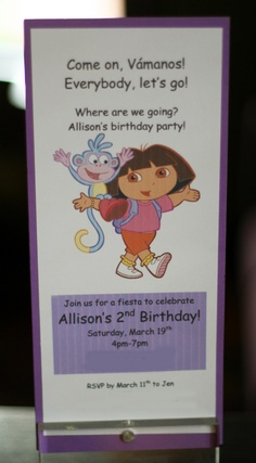 Dora the Explorer Party: Invitations | Dear Mommy Brain