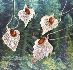 Real Leaves Jewelry,  Wedding Bridal Set (4) Birch leaf necklace pendants,silver, choice of bead. $48.95, via Etsy.