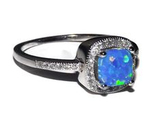 Sterling Silver Fire Blue Opal Ring Princess Cut Setting w/ Cz Stones Sz 5-10 150326123456