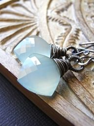 Seafoam - AAA chalcedony and oxidised sterling silver earrings