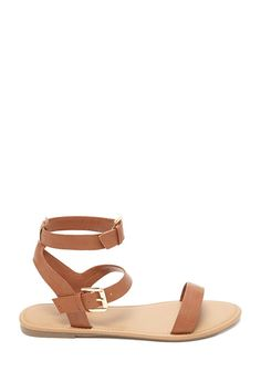 Faux Leather Ankle Sandals
