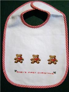 Cross Stitched Baby's First Christmas Bib.