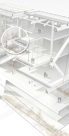 Architechtural Drawing explaining the construction system of the project. It's a mall in the riverside of Madrid.