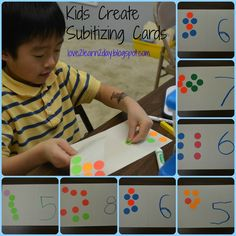 Kids Create Subitizing Cards - gives ideas on how to have kids create their own subtilizing/flashing dot cards. Numbers Kindergarten, Math Numbers, Kindergarten Counting, Subitizing Activities, Math Games, Singapore Math, Math Groups, Math Classroom, Classroom Ideas