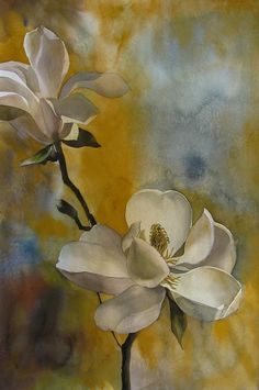 Magnolia With Yellow Painting by Alfred Ng Yellow Art, Yellow Painting, Mellow Yellow, Arches Watercolor Paper, Watercolor Flowers, Watercolor Paintings, Paint Flowers, Drawn Art, Arte Floral